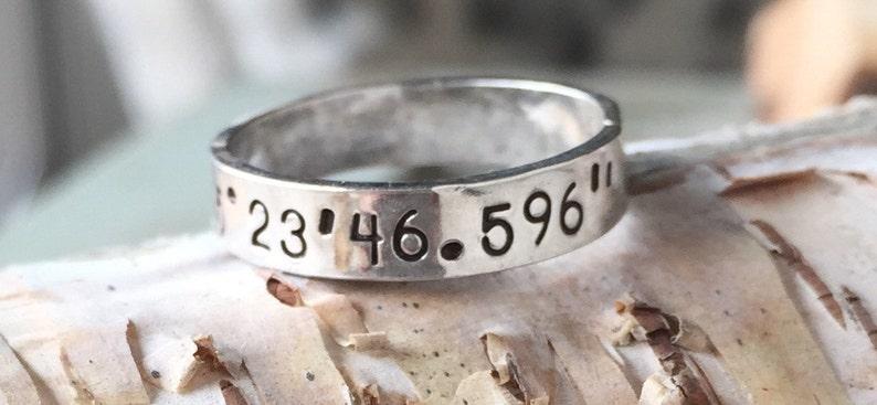 Coordinates Ring  Sterling Silver  Latitude Longitude Ring  image 0