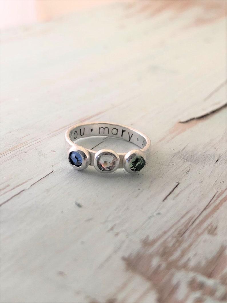 Triple Birthstone Hammered Ring image 0