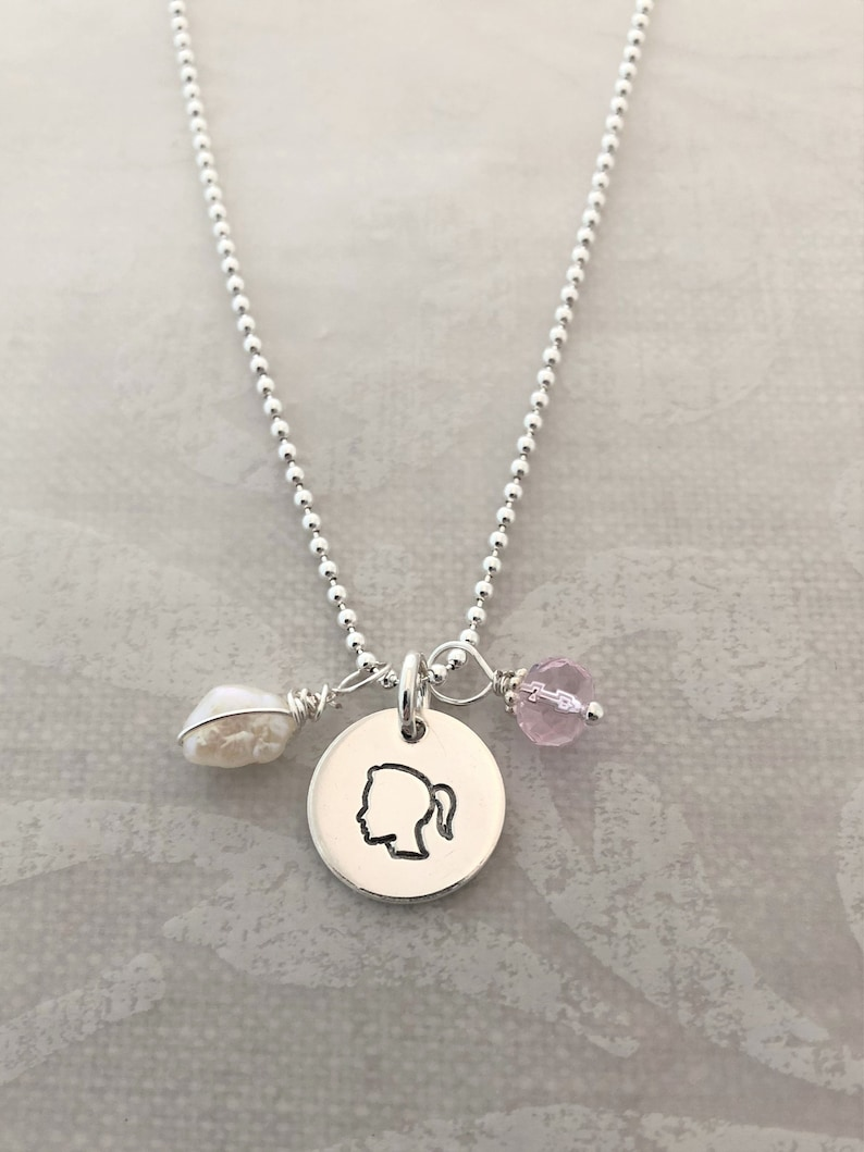 Silhouette Charm Necklace with Name Tags image 0
