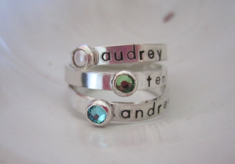 One Child's Name Ring  Personalized Birthstone Ring  image 0