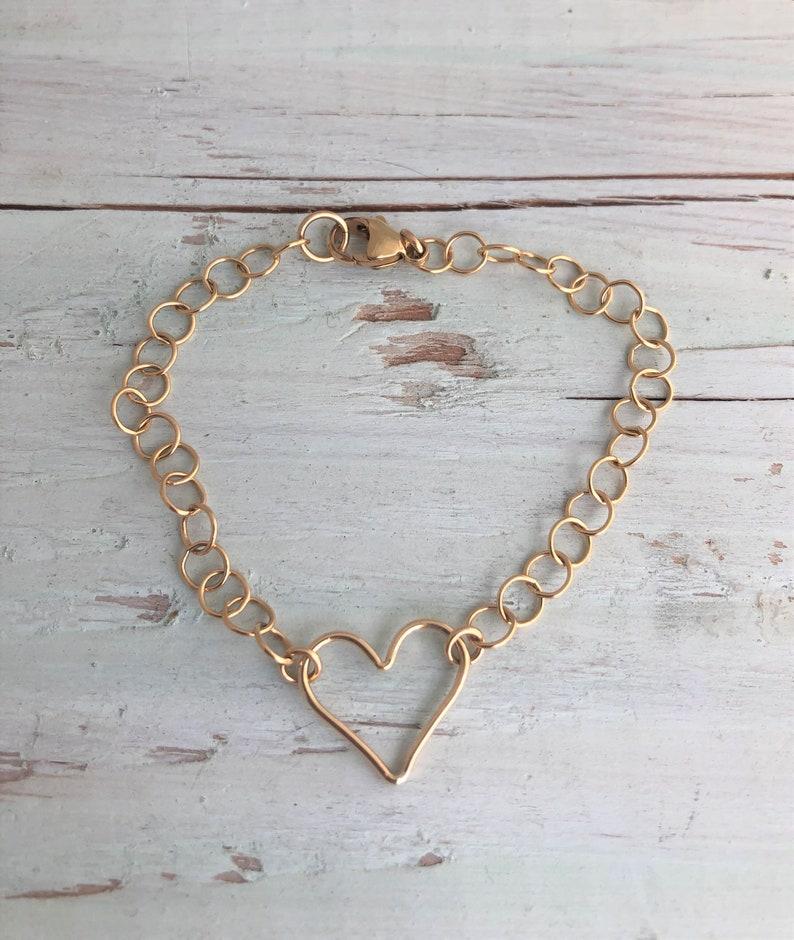 Gold Open Heart Bracelet image 0