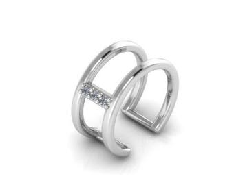 Ear Cuff Earrings 14K White Gold Diamonds Earcuff No Piercing Single Earring
