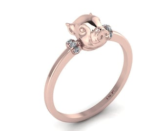 Pink Piggy Ring 14K Rose Gold Diamond baby Pig Lucky Spiritual Piglet Band