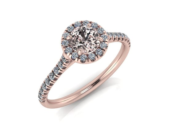 94a8b3cc275 Morganite Engagement Ring Diamonds Halo 14K Rose Gold Wedding