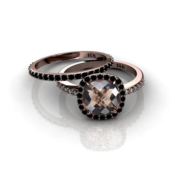 Cushion Cut 14k Rose Gold Ring Smoky Quartz Black Diamonds Etsy