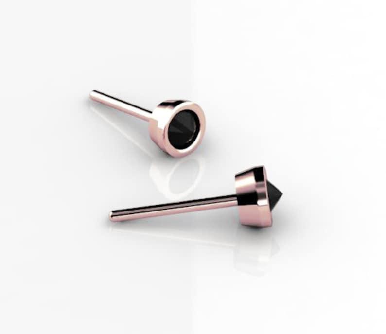 14K Rose Gold Black Diamond Stud Earrings Inverted Black Diamond Post Earrings Everyday Earrings
