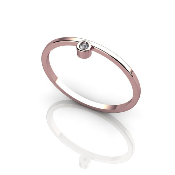 Delicate 14K Rose Gold Ring Champagne Diamond Knuckle Bezel Ring Stacking Jewelry