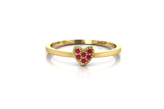 Ruby Heart Ring 14 K Solid Yellow Gold Stackable Thin Love Symbol Band Gemstone Ring by Etsy