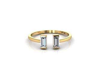 SOLID 14K Yellow Gold Tiny Horizontal Baguettes Ring Double Parallel Crystal Baguettes