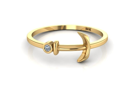 Gold Anchor Ring Diamond Anchor 14k Solid Yellow Gold Sailor Etsy