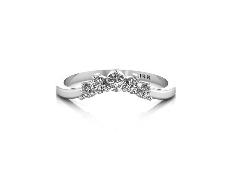 White Sapphires Band Stacking Band Cluster Ring Matching Wedding Band  Curved 14K White Gold