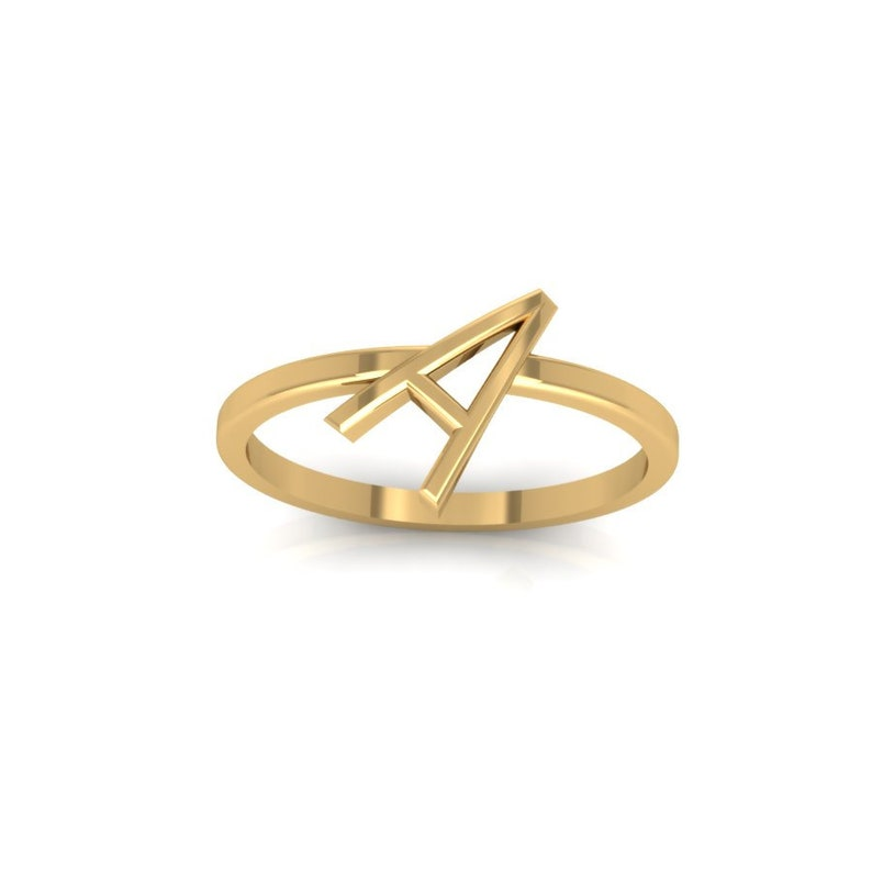 Personalized Ring Gold Initial Ring Oversize Sideways Letter Ring Bridesmaids Ring Baby Gift