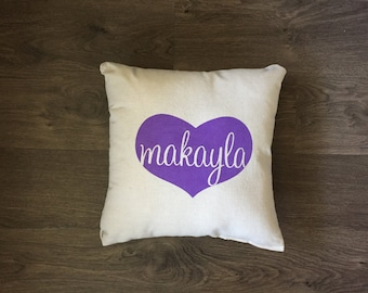 Personalized Name in Heart Pillow