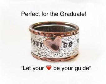 Gift For Her,Personalized Ring,Rustic Ring,Mixed Metal Stack Set,Message Ring,Copper Heart,Inspirational Gift,Hand Stamped,Valentines gift
