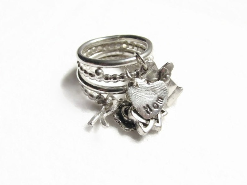 Charm ring,charms,mom ring,stack ring,personalized ring,dangle charm ring,birthstone ring,fingerprint charm,Christmas,Mother/'s Day 4 band