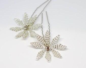 Silver flower wedding hair pin x 2, flower wedding accessory, silver flower bridal accessory, bridesmaids flower accessory, Kalini hair pin