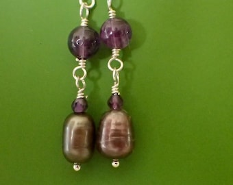 Eggplant Pearl Amethyst Earrings