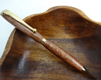 Macadamia Ballpoint Pen, Hand Turned Hawaiian Wood, Fancy Slimline Style, 24kt Gold Plated, In A Rosewood Box