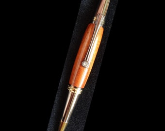 Curly Koa Pen, Majestic Squire Style Black Titanium & Gold Titanium, Swarovski Crystal Clip, Hand Turned, Twist Ballpoint, Velvet Lined Box