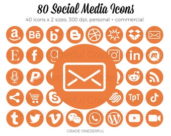 Orange Social Media Icon Set, Round Social Icons, Icons for Business Cards, Email Signature Icons, Blog Icons, Website Icons, Clipart Icons