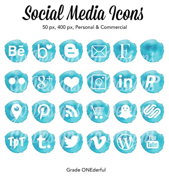 Icones De Medias Sociaux Aquarelle Turquoise Aqua Social