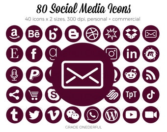 Social Media Icon Set, Wine Social Media Buttons, Email Signature Icons, Business Card Icons, Blog Button, Clip Art Icons