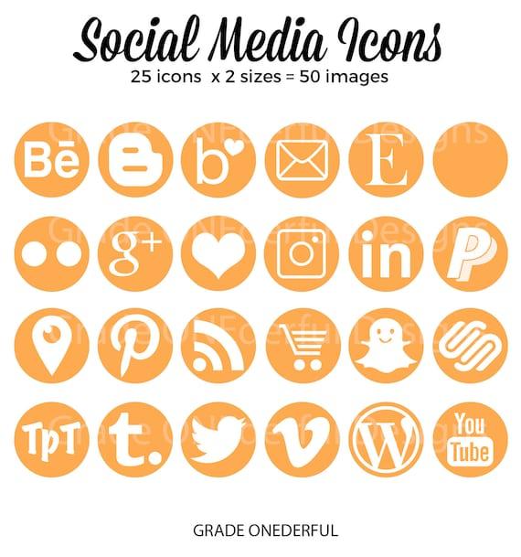 Round Social Media Icons Orange Blog Buttons Social Media Etsy
