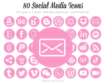 Pink Social Media Icon Bundle, Social Media Icon Set, Icon Clipart, Blog Icons, Blog Buttons, Email Signature Icons, Business Card Icons