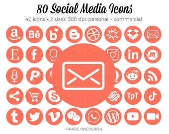 Orange Social Media Icon Bundle, Social Media Icon Set, Icon Clipart, Blog Icons, Blog Buttons, Email Signature Icons, Business Card Icons