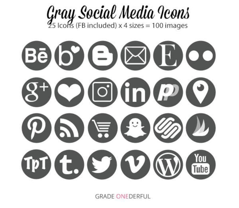 Gris Icones De Medias Sociaux Boutons Blog Site Web