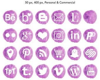 Water Color Social Media Icons, Violet, Purple, Watercolor Graphics