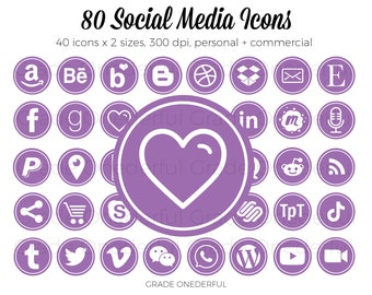Purple Social Media Icon Set, Social Media Graphics, Email Signature Icon, Business Card Icon, Social Icons, Website Icons, Clipart Icons