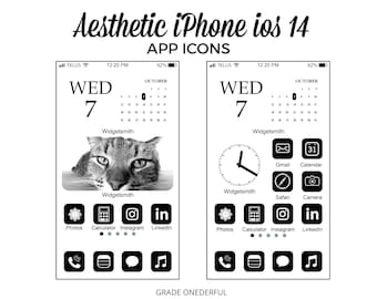 Aesthetic iPhone ios14 App Icon Covers, 78 Black White Icons for iPhone