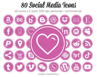 Pink Social Media Icon Set, Social Media Graphics, Email Signature, Business Cards, Blog Icons, Website Icons, Clip Art