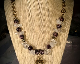 Crystal Clear Ice Flake Quartz Chips and Leopard Shell Beads on 22 Inch Necklace with Gold Accents and Earrings