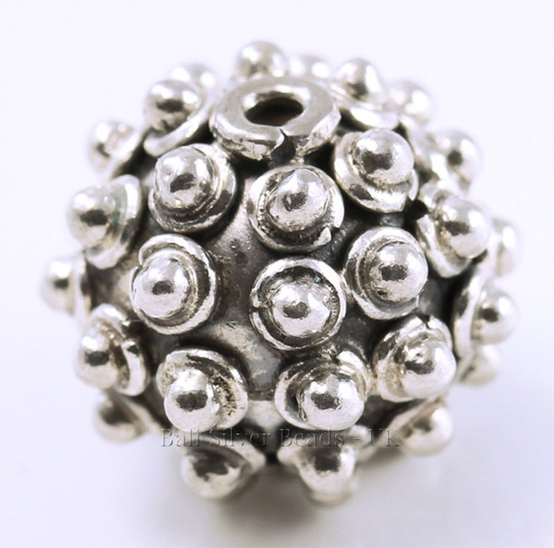 2 13 mm x 12 mm Spiky Bali Sterling Silver Beads two Punky Silver Beads Indonesia Hand-crafted in Bali