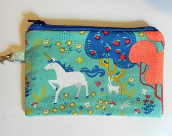 Notions Pouch, Unicorn in Enchanted Forest, Knitting notion pouch, crochet notion pouch