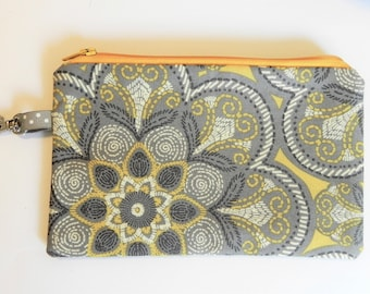 Notions Pouch, Yellow/Grey Flower Pattern, Knitting notion pouch, crochet notion pouch