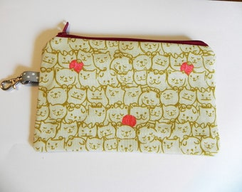 Notion Pouch, Cats and Yarn Yellow, Knitting notion pouch, crochet notion pouch