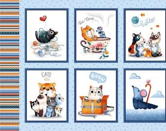 Cat Fabric - Feline Friends Cat Panel Michael Miller Fabrics - Sold by the Panel