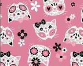 Cat Fabric - Sugar Skull Cats Pink Mook Fabrics - Sold by the Yard