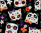 Cat Fabric - Sugar Skull Cats Purple Mook Fabrics - Sold by the Yard