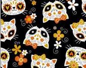 Cat Fabric - Sugar Skull Cats Black Mook Fabrics - Sold by the Yard