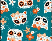 Cat Fabric - Sugar Skull Cats Teal Mook Fabrics - Sold by the Yard