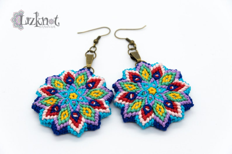 Blue yellow red flower earrings cotton knotted macrame image 0