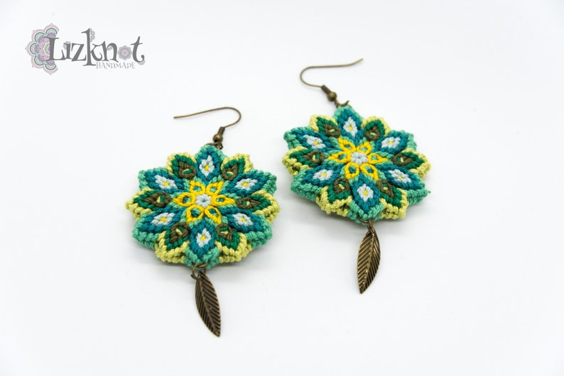 Green yellow flower earrings cotton knotted macrame colorful image 0