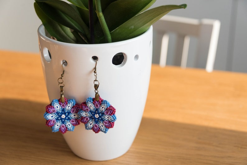 Blue purple flower earrings cotton knotted macrame colorful image 0
