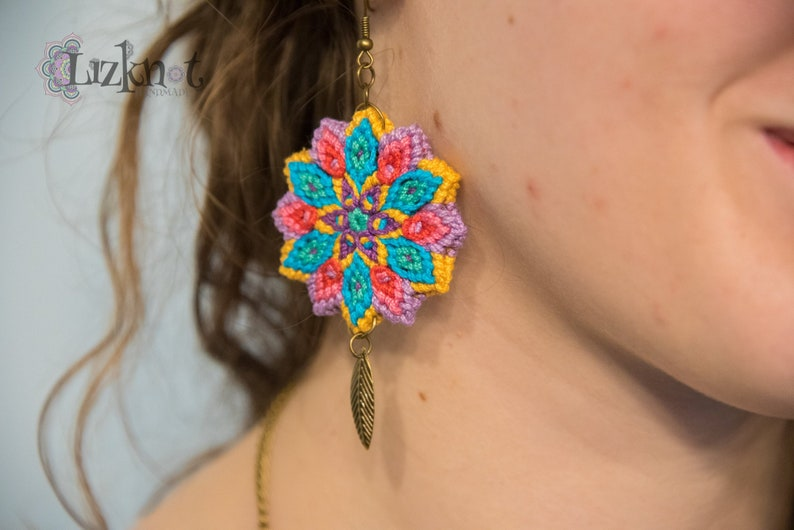 Violet yellow turquoise flower earrings cotton knotted image 0