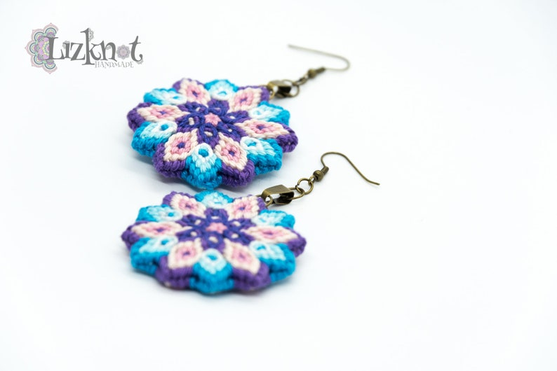 Turquoise purple pink flower earrings cotton knotted macrame image 0