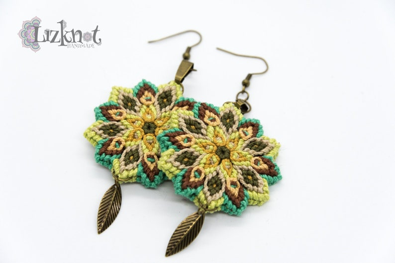 Green yellow brown flower earrings cotton knotted macrame image 0